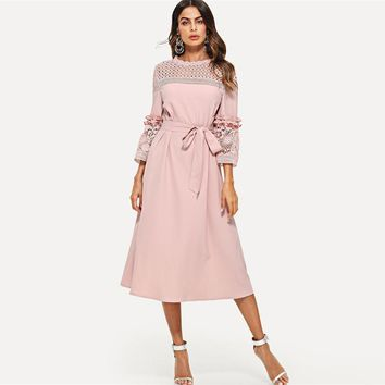 Lace Hollowed Out Midi Dress Women 3/4 Sleeve Ruffle Splicing Dresses Elegant Belted A Line Dress