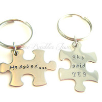 Hand Stamped Couples Keychain Set-Personalized Necklace-Wedding keychain gift