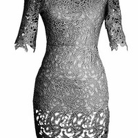 Amy Pond Sexy Hollow Embroidery Lace Cocktail Bodycon Party Pencil Prom Dress