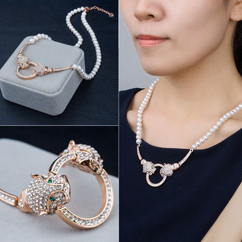 New Arrival Shiny Jewelry Stylish Gift Pearls Diamonds Accessory Necklace [4914832452]