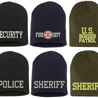 Police Fire Dept Security Border Patrol Sheriff Short Beanies Knit Caps Winter