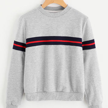 Striped Panel Heather Knit Sweatshirt