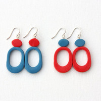 Funky blue red dangle earrings colorful fun jewelry modern abstract earrings
