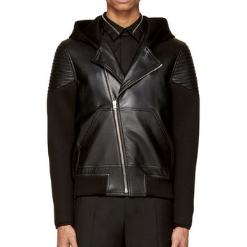 Givenchy Black Leather And Neoprene Hooded Bomber Jacket