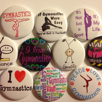 Set of 10 Gymnastics flat back or pin back buttons as pictured