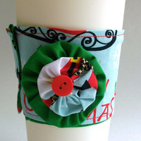 Santa Claus Coffee Cup Cozy / Holiday Drink Sleeve / Christmas / Leopard Print Santa Hat / Snowflakes