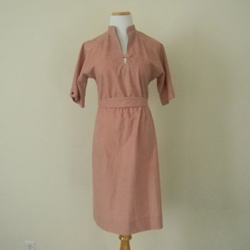 FREE usa SHIPPING vintage  1980's women's dusty rose A line dress polyester retro nostalgia 3/4 sleeves plunged neck size 8