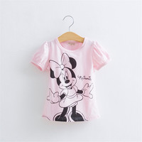 Baby Girls Cartoon Hello Kitty Tshirt Minnie Mickey Mouse Summer Short-Sleeved Casual T shirts for Kids Children's T-Shirts 35E