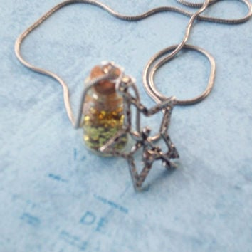 Pixie Dust Bottle and Fairy Star Charm Necklace - Gold Glitter