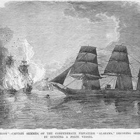 Confederate Captain Semmes burns a vessel from the Alabama (Paper Poster)