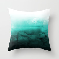 Green Lagoon Throw Pillow by Cafelab