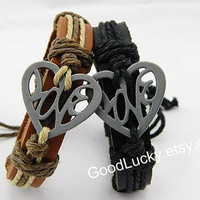 Lover bracelets,Couple bracelets leather,heart Bracelet,Leather bracelet,Love bracelet,braided bracelet,Hipster jewelry,sells by pair