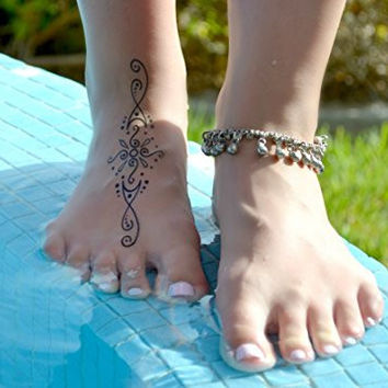 Temporary Tattoos for Adventurous Women, Teens & Girls - Long Lasting, US-Made - 43 Henna Tattoos, Butterflies, Dragonflies, Geckos, Nature Symbols - Plus FREE Bonus Video with Application Tips