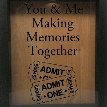 """Wooden Shadow Box Wine Cork/Bottle Cap Holder 9""""x11"""" - You and Me Making Memories Together"""