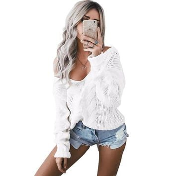 Pullover Knit Tops Winter Twisted V-neck White Sweater [14118813716]