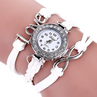 Casual Women's Watches PU Leather Korean Crystal Weave Braid Bracelet Watch ladies