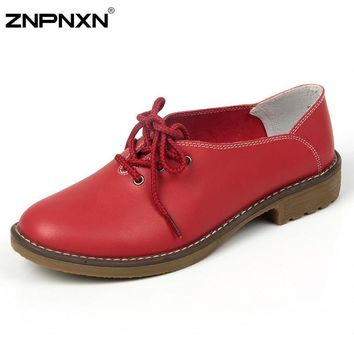 2016 New Women Shoes Casual Genuine Leather Oxford Shoes For Women Flat Shoes Ladies S