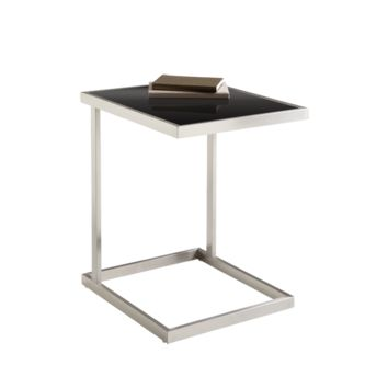 NICOLE BRUSHED STAINLESS STEEL WITH TEMPERED BLACK GLASS END TABLE
