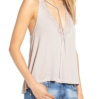 Lush Lace Trim Ribbed Tank | Nordstrom