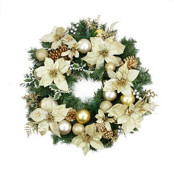 """24"""" Pre-Decorated Gold Poinsettia Pine Cone and Ball Artificial Christmas Wreath - Unlit"""