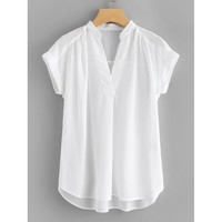 Pleated Detail Curved Hem Blouse
