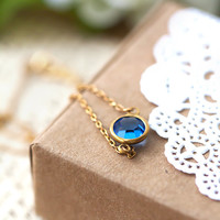Sapphine Blue Pendant Necklace, Simple Necklace, Simple Jewelry, Gift for Her, Gift for Mom Sister Aunt under 20 Dollars