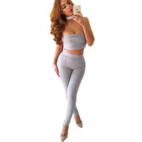 Smoves Winter Autumn Spring High Waist Womens Suede Clothing Sets Pants Stretchable Skinny Tight Pencil Pants+Bustier Tube Tops