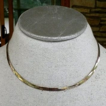 "Vtg Silver Tone Herringbone Chain Necklace 16-3/8"" Slinky 3/16""W Lobster Clasp"