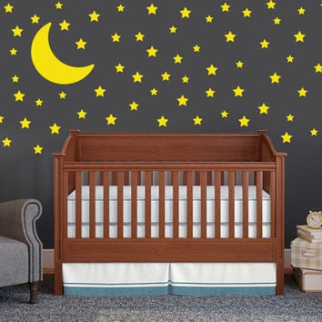 Moon and Stars Wall Decal Set - Childrens Wall Decals - 75 Star Decals - Moon Wall sticker - Nursery Wall Decal Set - Neutral Nursery Decors