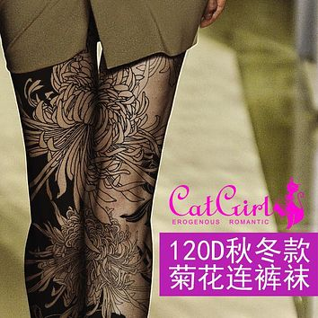 Women New Specials 120 D Chrysanthemum Printing Pantyhose Personality Fake Tattoo For Filar With Thick Leggings