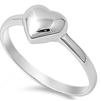 925 Sterling SIlver 7MM PRETTY HEART DESIGN SILVER PROMISE RING SIZES 2-12
