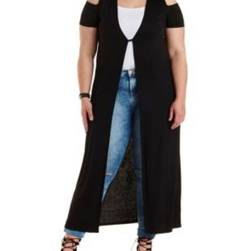 Plus Size Black Cold Shoulder Duster Cardigan by Charlotte Russe