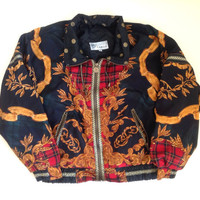 90s Windbreaker Swishy Jacket - Zip Up Windbreaker - Lightweight Plaid Jacket