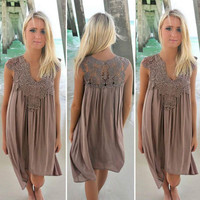 Plus   Summer Lace Crochets Beach Boho Sleeveless Party Mini Dress Hollow Out White Lace Patchwork Beach Dress