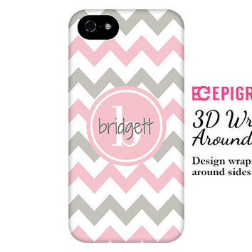 Personalized iPhone 6 case, iPhone 6 plus case, pink chevron iphone 5c case, iPhone 4s phone cases, Galaxy S5 case, chevron iPhone 6 case