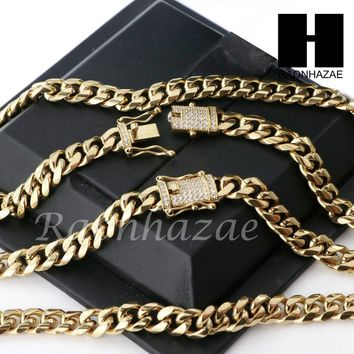 Men 18k Gold Plated 10mm Diamond Clasp Cuban Miami Link Bracelet & Chain Set S02