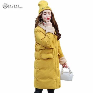 2017 Women Long Winter Jacket Plus Size Warm Cotton Coat Warm Lamb Wool Turn Down Collar Female Parka Wadded Outwear Okb372