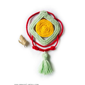 Braid Yarn Geometric Tribal Necklace with Tassel - Mint Green, Chili Red, and Mustard Yellow - Spring Summer 2013