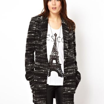 ASOS Longline Textured Check Coat