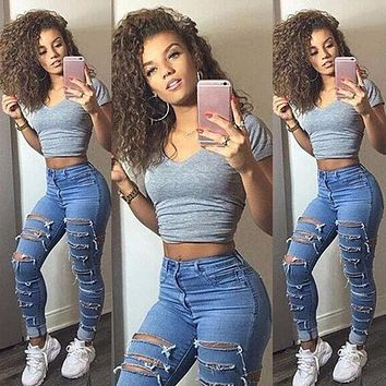 Womens Destroyed Ripped Jeans 2017 New Fashion Steert Wear Slim Denim Pants Boyfriend Jeans Trousers