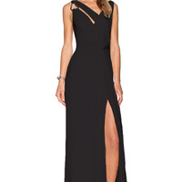 Black Cowl Back V-neck Cutout Sleeveless Sheath Maxi Slit Dress