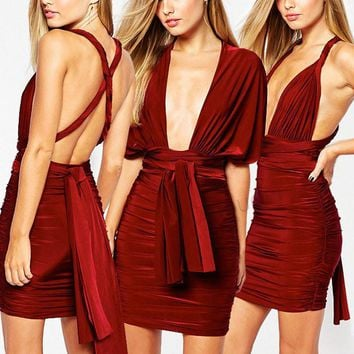Fashion Sleeveless Deep V Ruffle Multi-way Wear Bandage Pack-hip Mini Dress