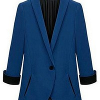 Shawl Collar One Button Placket Blazer - OASAP.com