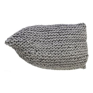 """Roscoe"" Natural Grey Handmade Knitted Woolen Beanbag"