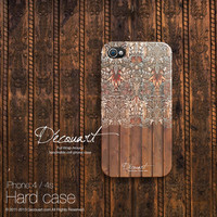 Floral iPhone 5 case, iPhone 4 case, case for iPhone 5, brown chocolate floral wood pattern S573