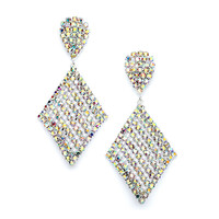 Chic AB Rhinestone Prom or Bridesmaids Earrings with Bold Dangle