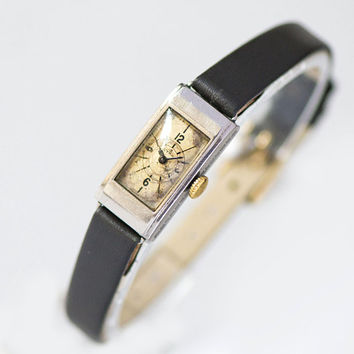 Swiss wristwatch for women CYMA. Art Deco watch lady jewelry. Antique watch rectangular. 30s fashion watch gift. New premium leather strap