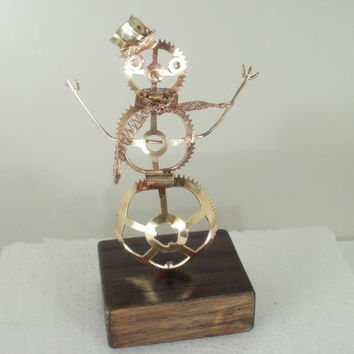 Steampunk Snowman - Brass Gears on Oak Base