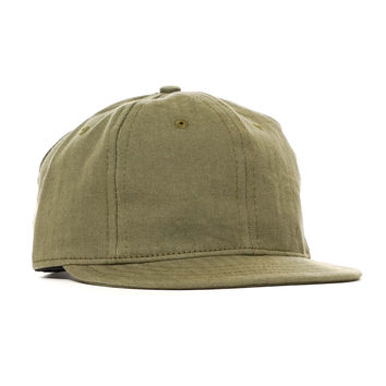 x Ebbets Field Washed Herringbone Short Brim Cap Olive