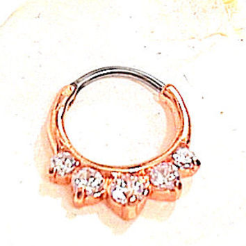 Rose Gold SEPTUM CLICKER Clear White cz 5 Graduated stones prong set, rose gold plated 316L surgical steel curved bar DAITH Ring 16g